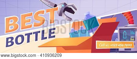 Best Product Quality Cartoon Ad Poster. Factory Conveyor Belt With Water Bottles And Robotic Arms Po