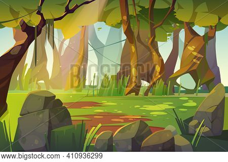 Summer Forest Glade With Green Grass. Scene Of Jungle, Garden Or Natural Park In Daylight. Vector Ca