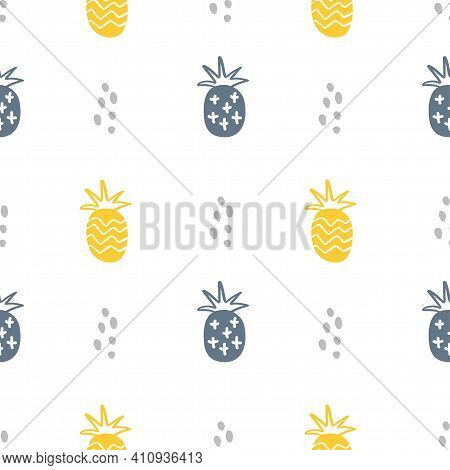 Summer Pastel Pineapple Seamless Design. Pattern For Bed Linen And Apparel. Nordic Ananas Yellow And
