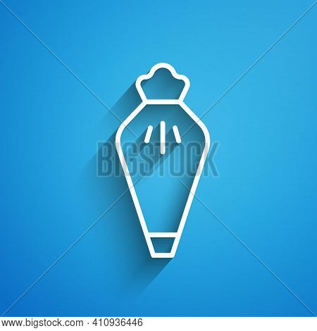 White Line Pastry Bag For Decorate Cakes With Cream Icon Isolated On Blue Background. Kitchenware An