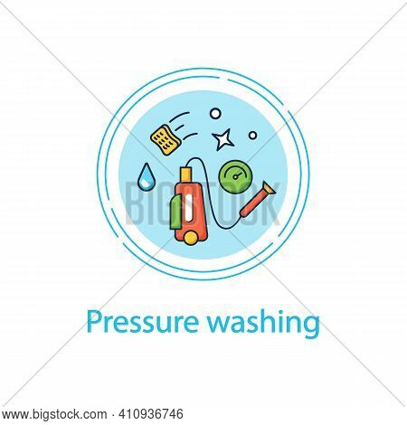 Pressure Washing Concept Line Icon. Power Washing. Hydro-jet Cleaning. High-pressure Water Spray Usa