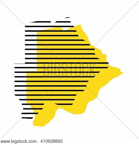 Botswana - Yellow Country Silhouette With Shifted Black Stripes. Memphis Milano Style Design. Slimpl