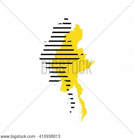 Burma, Myanmar - Yellow Country Silhouette With Shifted Black Stripes. Memphis Milano Style Design.