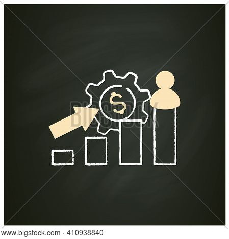 Growth Business Chalk Icon. Gradually Rise Of Business, Reaches Point For Expansion. Successful Comp