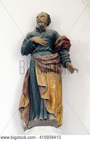 OSTARIJE, CROATIA - JULY 14, 2013: St. Paul, statue of the parish church of Our Lady of Miracles in Ostarije in Croatia