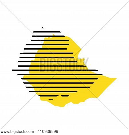 Ethiopia - Yellow Country Silhouette With Shifted Black Stripes. Memphis Milano Style Design. Slimpl