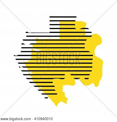 Gabon - Yellow Country Silhouette With Shifted Black Stripes. Memphis Milano Style Design. Slimple F