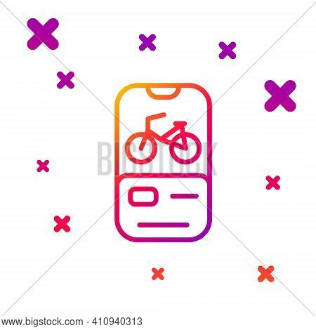 Color Line Bicycle Rental Mobile App Icon Isolated On White Background. Smart Service For Rent Bicyc
