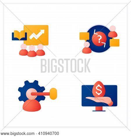 Business Incubator Flat Icons Set. Startup Company. Intellectual Property, Virtual Assistant, Teambu