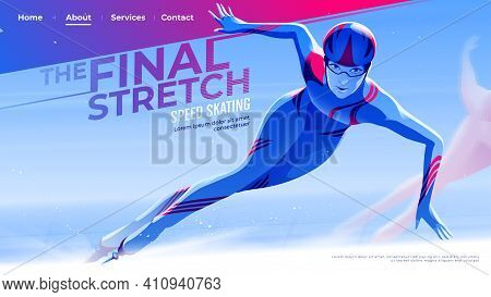 Vector Illustration For Ui Or A Landing Page In Speed Skating Theme Of The Female Skate Athlete Is E