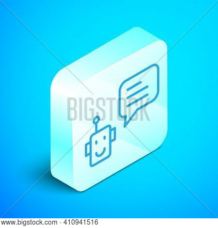Isometric Line Bot Icon Isolated On Blue Background. Robot Icon. Silver Square Button. Vector