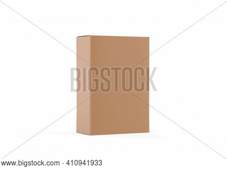 Brown Kraft Paper Box Mockup, Cardboard Packaging Box Mock Up Template On Isolated White Background,