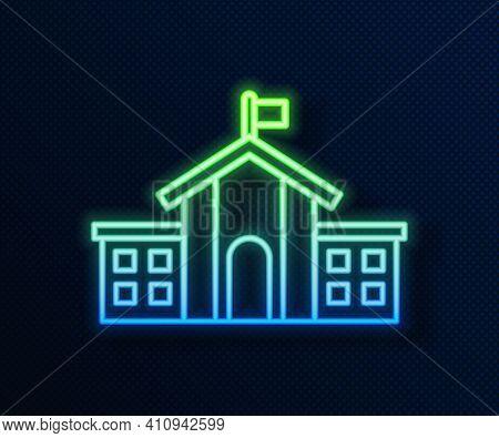 Glowing Neon Line United States Capitol Congress Icon Isolated On Blue Background. Washington Dc, Us