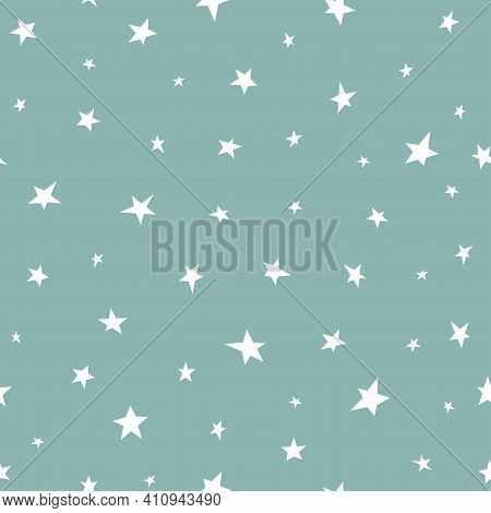 Seamless Abstract Pattern With White Hand Drawn Stars Of Different Rotation And Size. Light Green Bl