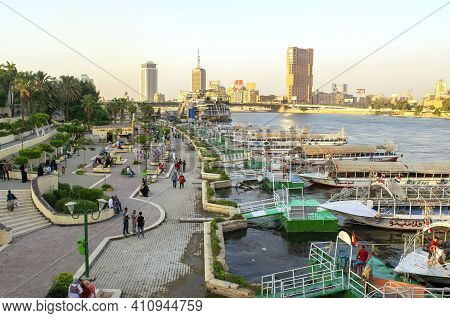 Cairo - Egypt - October 04, 2020: View Of Beautiful Wide Nile River In The Heart Of The African Capi