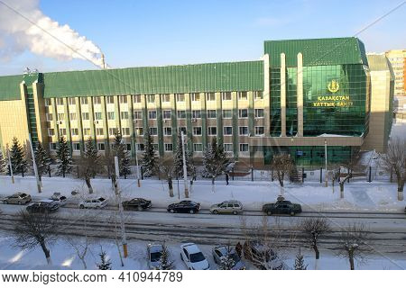 Kostanay - Kazakhstan -  January 15, 2021: Halyk Bank Building Exterior On Blue Sky Background In Wi