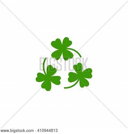 Three Blades Of Irish Shamrock Clover Icon. Bright Green Shamrock Isolated On White. St Patrick Day