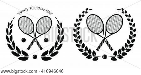 Symbol, Emblem Of Crossed Sports Tennis Rockets And Ball For Tennis With Laurel Wreath For Competiti