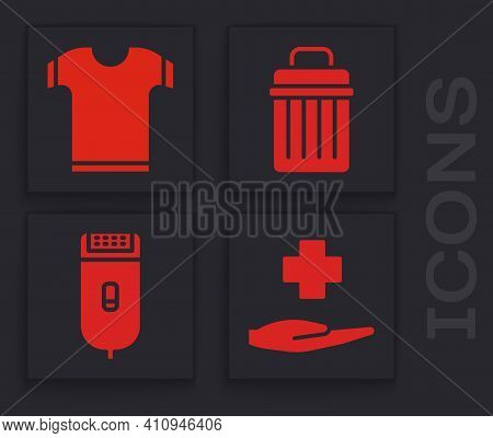 Set Cross Hospital Medical, T-shirt, Trash Can And Electrical Hair Clipper Or Shaver Icon. Vector