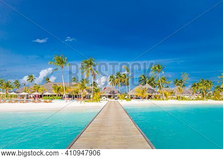 Amazing Panorama Landscape Of Maldives Beach. Tropical Island Beach, Stunning Landscape Seascape, Lu