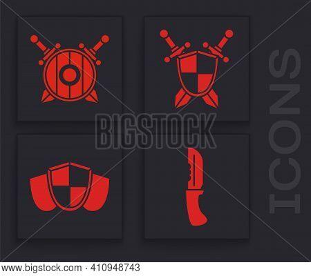 Set Military Knife, Wooden Shield With Crossed Swords, Medieval Shield With Crossed Swords And Shiel