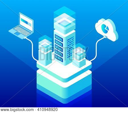 Vector Isometric Cloud Computing And Data Storage Center Concept With Server Rack Connected To Lapto