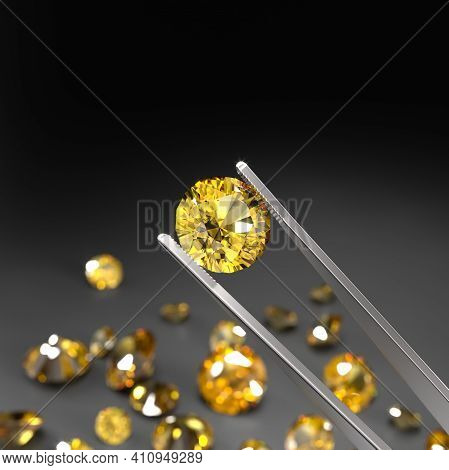 Tweezers Holds A Yellow Sapphire. A Scattering Of Sapphires On A Black Surface. Gemstone Industry. E