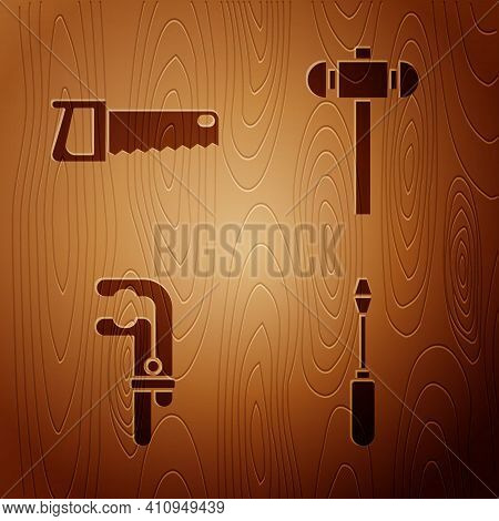 Set Screwdriver, Hand Saw, Clamp Tool And Sledgehammer On Wooden Background. Vector