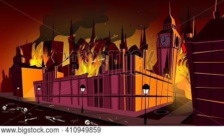 London In Fire Of Plague Epidemic Vector Illustration. London City Burning At Plague Disease With De