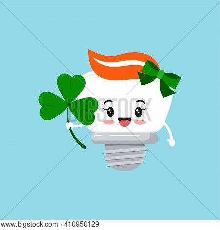 St Patrick Cute Tooth Dental Implant Girl Icon Isolated. Orthodontist Dentistry Teeth Character With