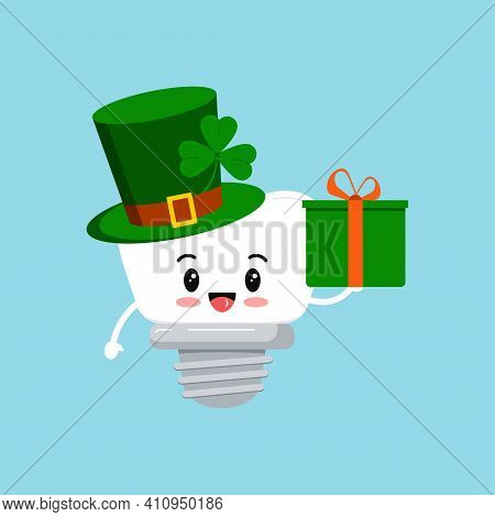 St Patrick Tooth Dental Implant Icon Isolated. Orthodontist Dentistry Teeth Character Leprechaun Hat