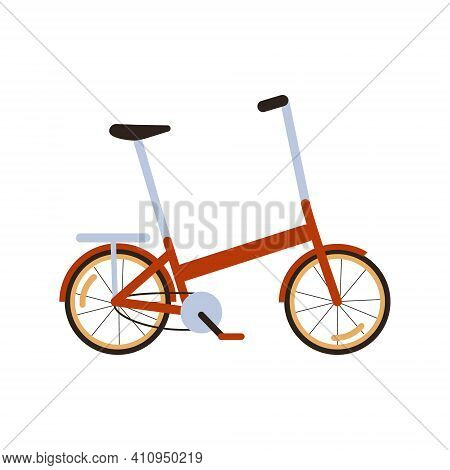 Red Modern Folding City Bike. Ecological Transport Side View. Commuting By Compact Portable Electric