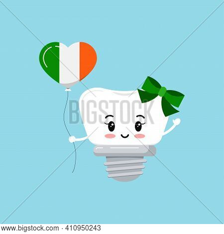 St Patrick Cute Tooth Dental Implant Icon Isolated. Orthodontist Dentistry Teeth Character With Iris