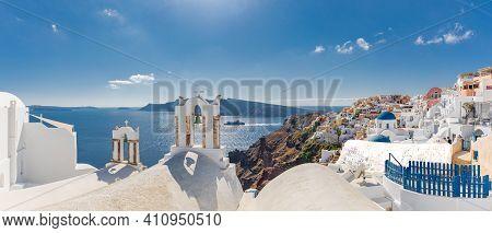 Amazing Panoramic Landscape, Luxury Travel Vacation. Oia Town On Santorini Island, Greece. Tradition