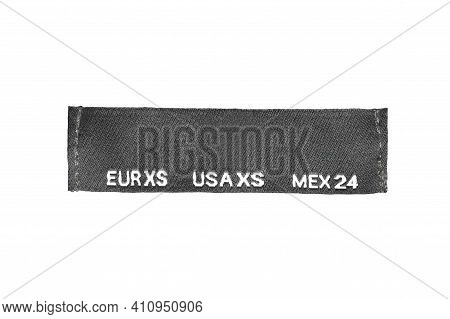 Textile Size Xs Clothing Label Isolated Over White