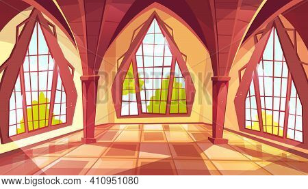 Ballroom With Shaped Windows Vector Illustration Of Royal Gothic Palace Hall Or Royal Chamber With Y