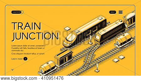 Train Junction, Transport Node Isometric Vector Web Banner With Passenger And Freight Trains With Wa