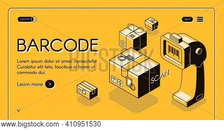 Barcode Scanning Web Banner Or Site Isometric Vector With Desktop Barcode Reader, Stationary Laser S