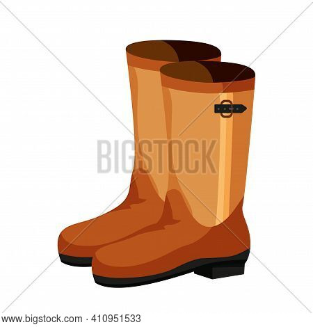 Pair Of Rubber Boot In Turquoise Color - Waterproof Autumn Footwear For Seasonal Design In Flat Styl
