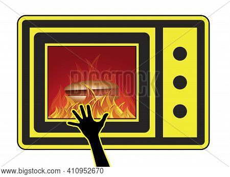 Microwave Oven Injuries Young Children. Skin Burn Caused By Accidentally Touching The Heated Food Fr