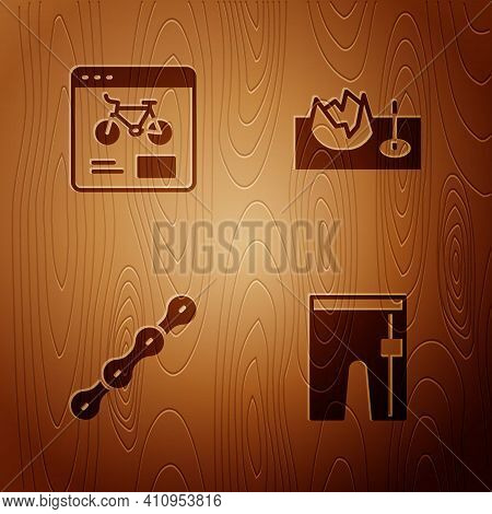 Set Cycling Shorts, Bicycle Rental Mobile App, Chain And On Street Ramp On Wooden Background. Vector
