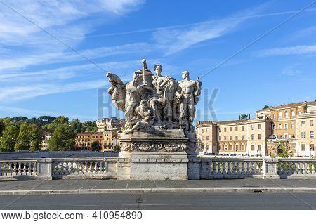 Rome, Italy - October 9, 2020: Allegorical Sculpture On Vittorio Emanuele Ii Bridge (ponte Vittorio