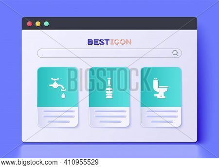 Set Toilet Brush, Water Tap And Bowl Icon. Vector