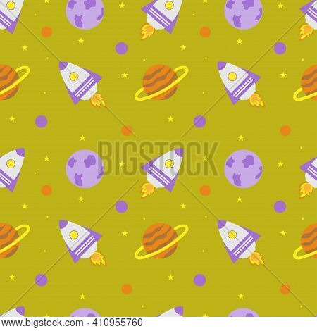 Space Rocket And Planets With Stars On A Yellow Background. Space Exploration. Travel To Space. Seam
