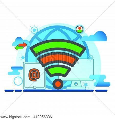 Wireless Conection Illustration. Flat Vector Icon. Can Use For, Icon Design Element,ui, Web, App.