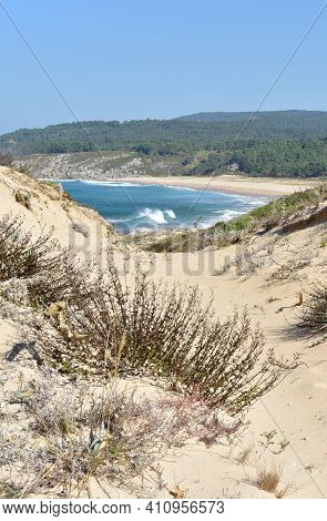 Wild Beach With Waves Breaking, View From Sand Dunes. Rias Baixas Region, Porto Do Son, Coruña, Gali