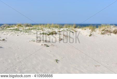 Sand Dune With Marram Grass, Blue Sky And Horizon Over Water. Rias Baixas, Galicia, Spain.