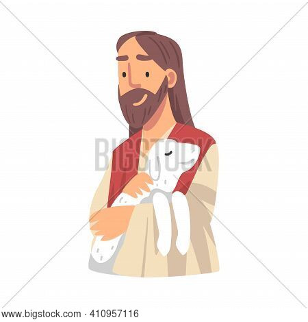 Jesus Christ Holding Lamb With His Arm As Narrative From Bible Vector Illustration