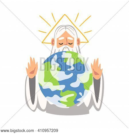 God Or Holy Father Creating The World As Narrative From Bible Vector Illustration