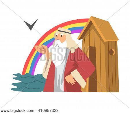 Noah, Ark And Genesis Flood As Narrative From Bible Vector Illustration